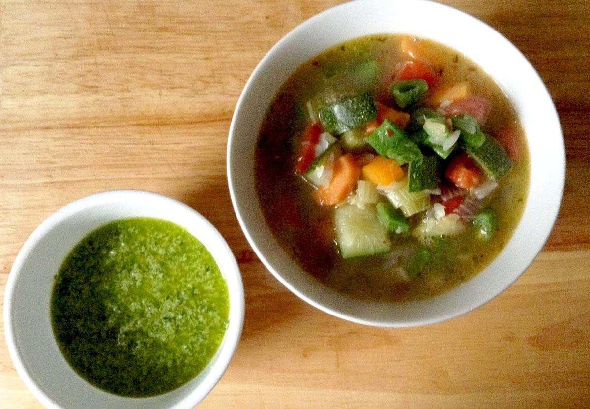 Supa de legume cu pesto (Supa pistou)
