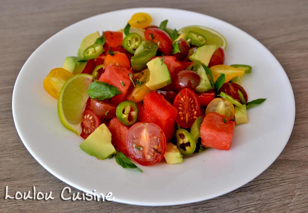 Salata cu pepene, rosii si avocado