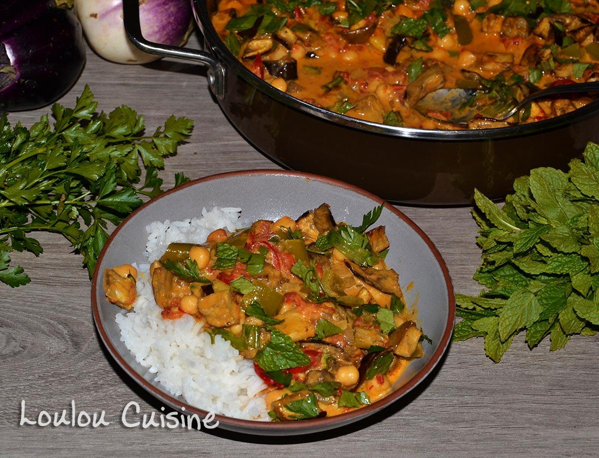 Curry cu naut si vinete coapte